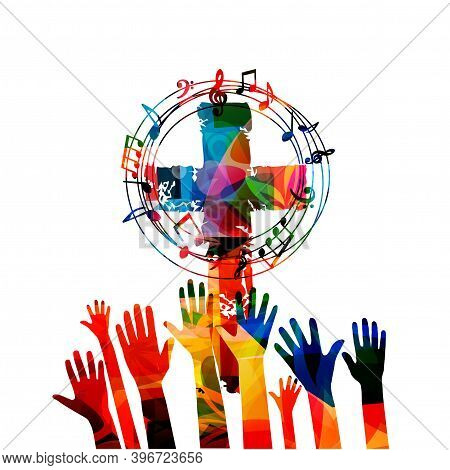 Colorful Christian Cross With Musical Notes And Hands Isolated Vector Illustration. Religion Themed