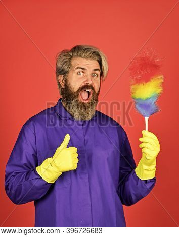Gender Inequality. Man Use Pp Duster. Hipster Holding The Cleaning Tool. Clean And Home Concept. Mal