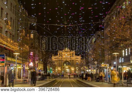 Zurich, Switzerland December - 26. 2019: The Christmas Illumination On The Bahnhofstrasse In Zurich.