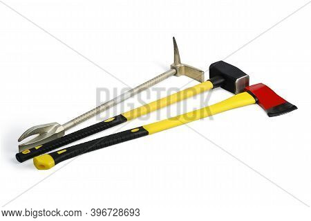 Large Yellow Sledgehammer, Axe And Hooligan Pinch-bar From Firemans Toolbox Isolated On White Backgr
