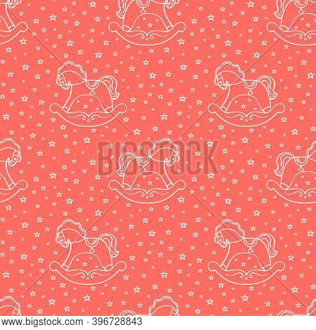 Seamless Pattern With The Hand Drawn Rocking Horses Is On The Red Background. The Save With The Clip