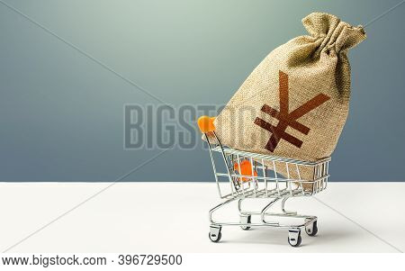 Yuan Yen Money Bag In A Shopping Cart. Profits And Super Profits. Minimum Living Wage. Business And