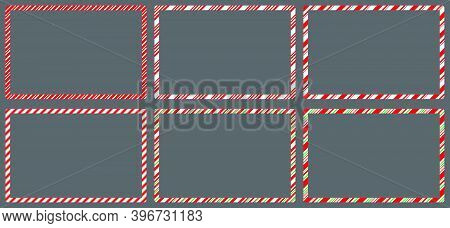 Candy Cane  Frames  Set Christmas. Collection Of Xmas Striped Border With Copyspace. Rectangle Backg