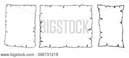 Parchment Outline Vector Collection, Set Of Old Paper Sheets Contour Isolated On White Background. I