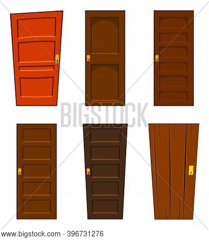 Door Vector Set Isolated On White Background. Collection Of Cartoon Home Design Element. Brown Close