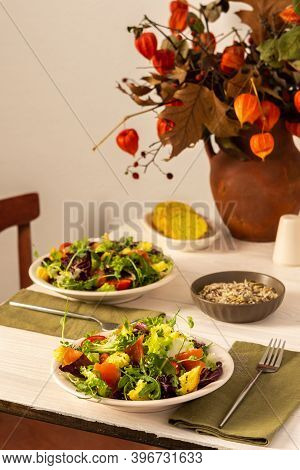 Light Breakfast Or Dinner, Mix Salad With Salmon And Different Seeds , Cornbread, Autumn Bouquet In