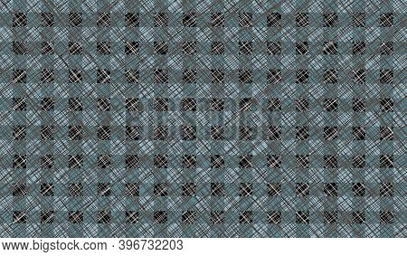 Gray Black Turquoise Blue Vintage Checkered Background With Blur, Gradient And Grunge Texture. Class