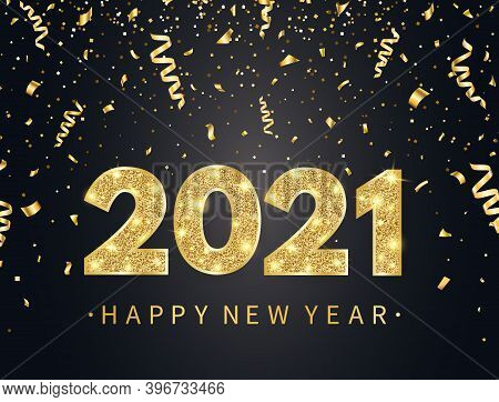 2021 Happy New Year Background With Gold Confetti, Glitter, Sparkles And Stars. Holiday Banner With