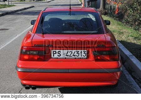 Pesaro - Italy - Feb. 13 2020: Old Youngtimer Opel Calibra