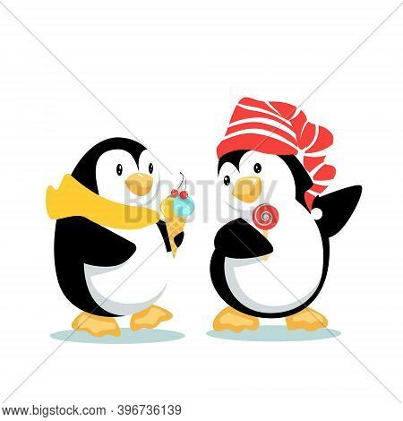 Two Cartoon Penguins Walk Side By Side Eating Ice Cream And Lollipop, Chat And Enjoy The Company. Ve
