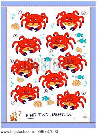 Logic Puzzle Game For Children And Adults. Find Two Identical Crabs. Printable Page For Kids Brain T
