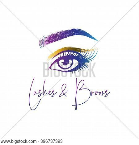 Eyelashes And Eyebrows Make Up Design Logo, Vector Logo Design For Beauty Salon