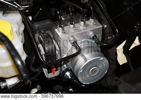 Control Unit And Anti-lock Brake System Module Installed In A Modern Car.