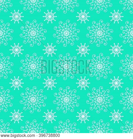 Seamless Snowflakes On Light Green Background For Christmas, New Year, Snowflake Element Seamless Pa