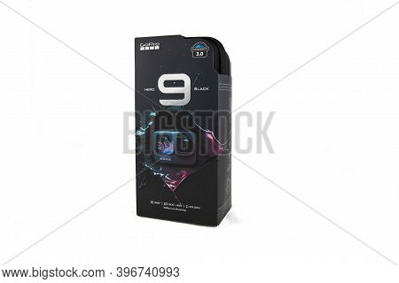 Moscow, Russia - November 20, 2020: Factory Box With Original Special Case New Flagship Action Camer
