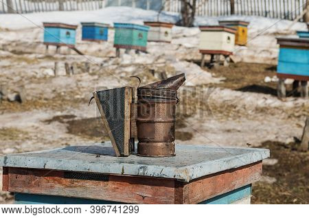 Apiary In The Village In The Open Air After Wintering. Apiary Smoker.