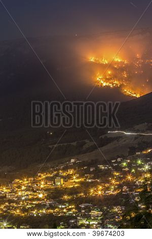 Forest fire near the town