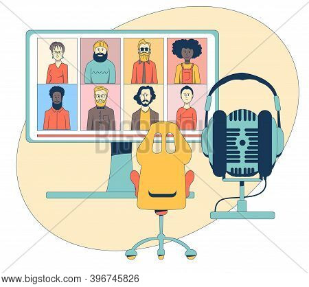 Symbolic Illustration Of A Webinar. A Monitor Depicting The Participants Of The Webinar, An Office C