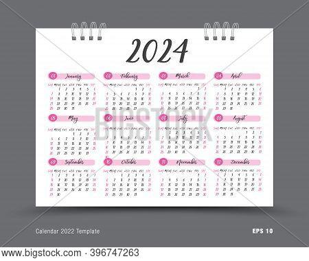 Calendar 2024 Template Layout, 12 Months Yearly Calendar Set In 2024, Business Brochure Flyer, Print