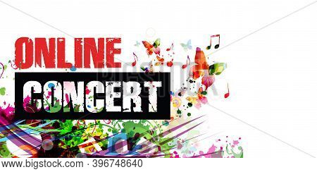 Colorful Music Promotional Poster Background With Musical Notes Isolated Vector Illustration. Online
