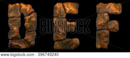 Set of rocky letters D, E, F. Font of stone on black background. 3d rendering