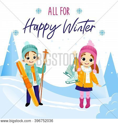 All For Happy Winter Writing On White Background. Cartoon Flat Vector Illustration In Placard. Color