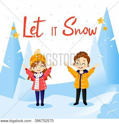 Vector Cartoon Illustration In Flat Style With Let It Snow Writing. Wintertime Concept Lettering Com