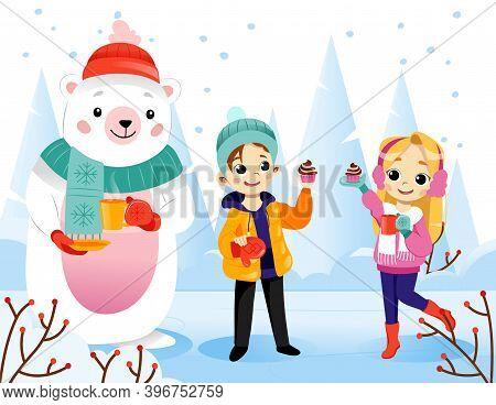 Wintertime Scene Vector Illustration In Cartoon Flat Style On Snowing Landscape Background. Colourfu