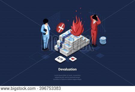 Conceptual Vector Illustration Of Money Devaluation Idea. 3d Isometric Composition In Cartoon Style