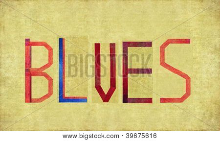 Earthy background image and design element depicting the word BLUES