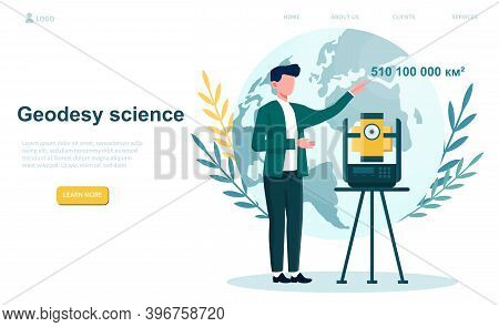Geodesy Science Speaker. Tecnhology Land Surveying. Engineering And Topography Equipment. Flat Carto
