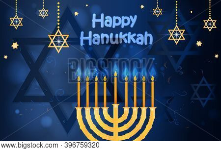 Happy Hanukkah And Passover Card. Concept Of Celebrating Passover Holiday With Jewish Symbols And Go