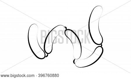 Sausages On A White Background, Vector Illustration. A Bunch Of Sausages For Lunch And Dinner. Grill