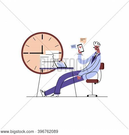 Vector Flat Illustration Concept Procrastination, Laziness, Dependence On Gadgets. There Is Image Em