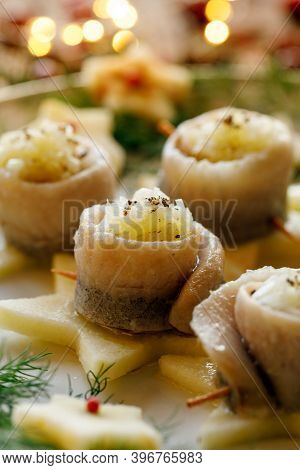 A Close-up View Of The Herring Fillet With The Addition Of Chopped Onion And Oil. Traditional Dish O
