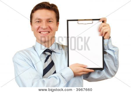 Businessman Holding A Blank Clipboard,Clipping Path Included