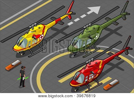 Isometric Red Helicopter Landing In Three Livery Resque And Military