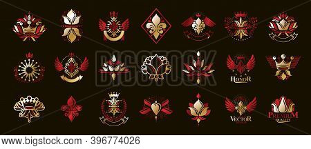 De Lis Vintage Heraldic Emblems Vector Big Set, Antique Heraldry Symbolic Badges And Awards Collecti