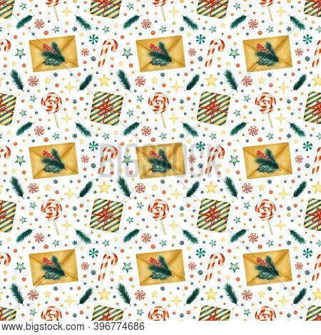 Seamless Pattern With Watercolor Traditional Christmas Elements. Craft Letter Envelope, Gift Box, Fi