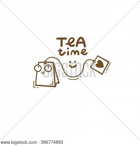 Сard With Cute Cartoon Tea Bag. Funny Drink Print. Anthropomorphic Thing Poster. Vector Doodle Illus