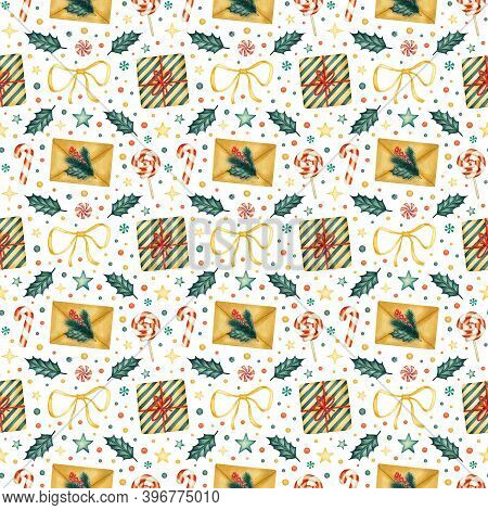 Watercolor Traditional Christmas Elements Seamless Pattern. Craft Letter Envelope, Gift Boxes, Sweet