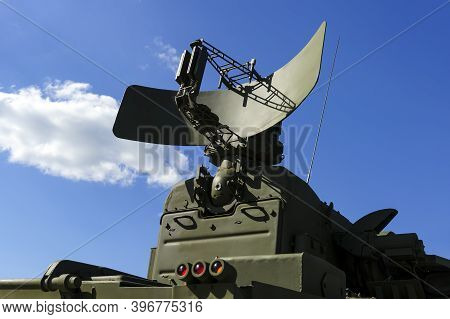Air Defense Radar Of Military Mobile Mighty Missile Launcher System Of Green Color, Modern Army Indu