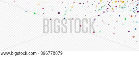 Multi Colored Ribbon Isolated Vector Panoramic Transparent Background. Swirl Serpentine Plant. Parti