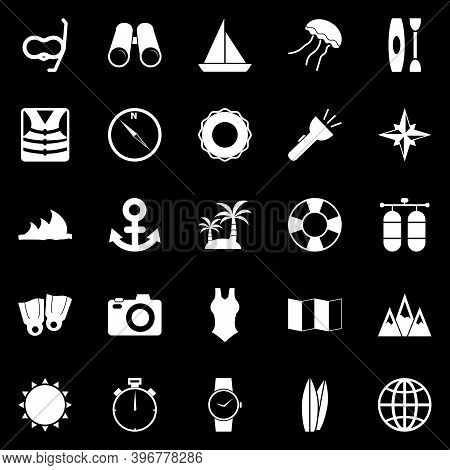 Diving Icons On Black Background, Stock Vector