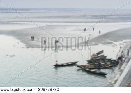 Blurred Image Of Dooars, West Bengal, India. View Of Gajoldoba Barrage With Boats In Foreground, Doo