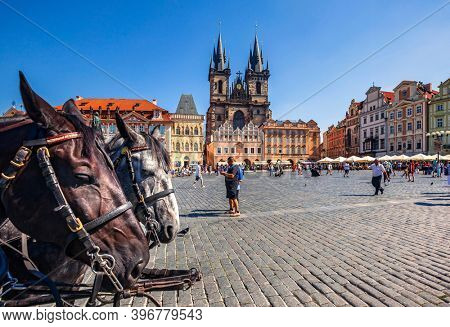 Prague, Czech Republic - august 30, 2015: Tourists at Old Town Square with Church of Our Lady before Tyn in Background