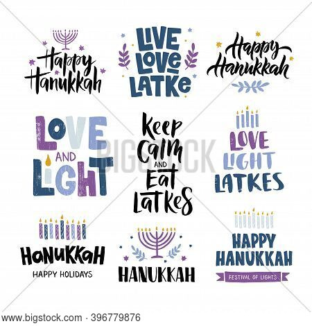 Hanukkah Vector Celebration Typography. Traditional Jewish Holiday Phrases Collection. Love, Light,
