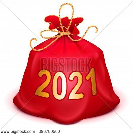 Santa Red Bag 2021 With Gifts. Full Knotted Sack With Christmas And New Year Present. Isolated On Wh