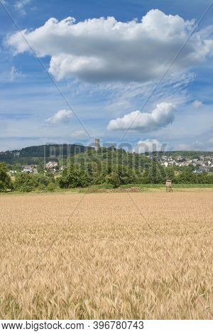 View To Village Of Hartenfels In Westerwald,germany