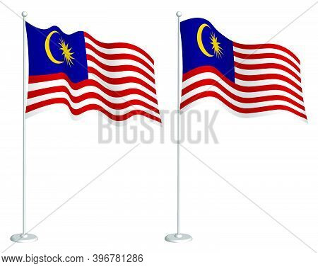 Flag Of Malaysia Flag On Flagpole Waving In Wind. Holiday Design Element. Checkpoint For Map Symbols